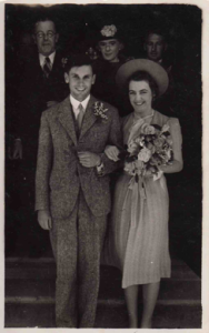 James and Ruth on their wedding day, 9 November 1939. Ruth's parents are in the background.